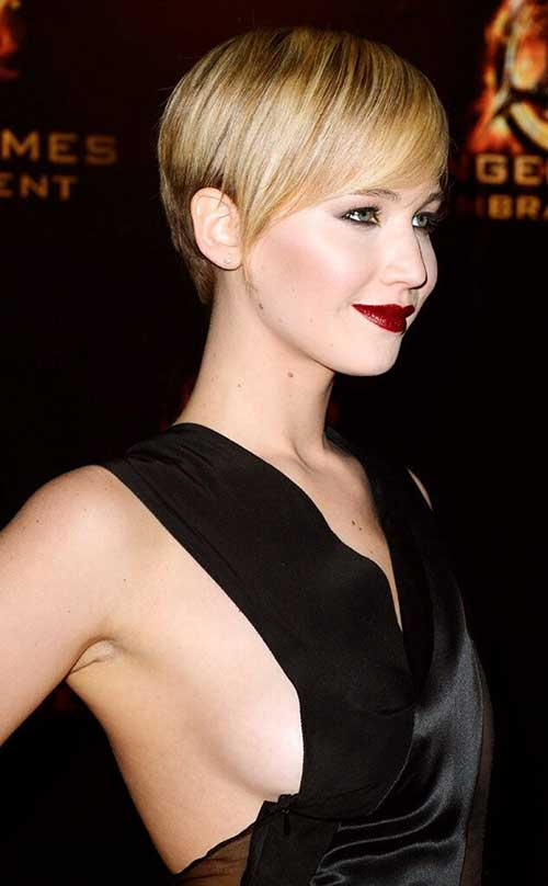 Jennifer Lawrence Straight Nice Long Pixie Haircuts
