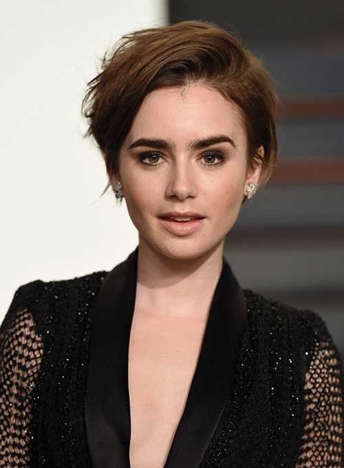 Lily Collins Pixie Cut 2015