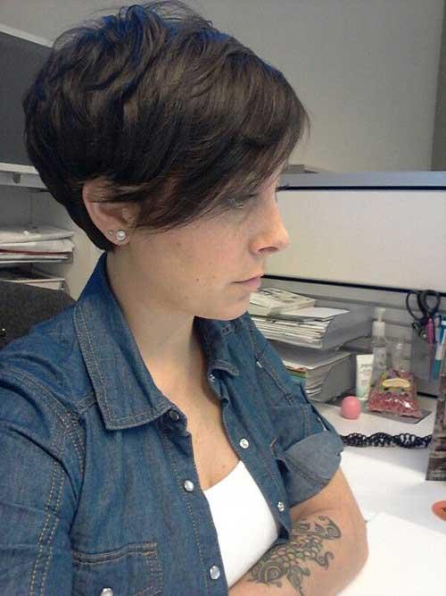 Long Dark Brown Pixie Haircut