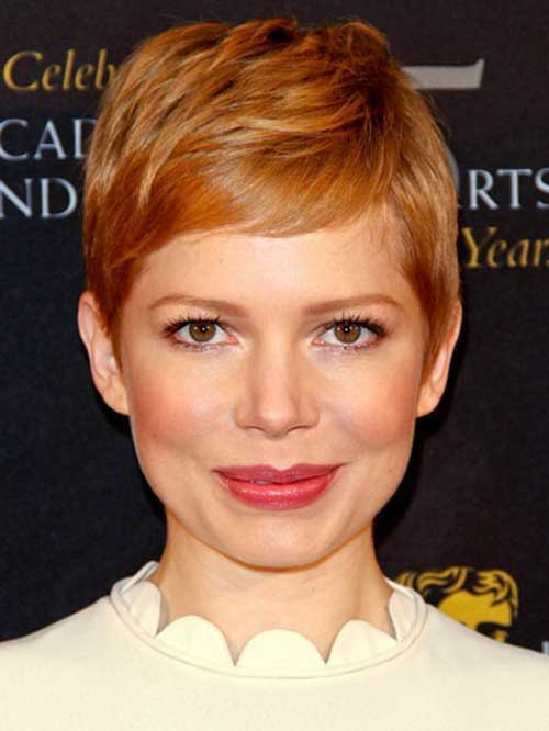 Michelle Williams Copper Pixie Hair Cut