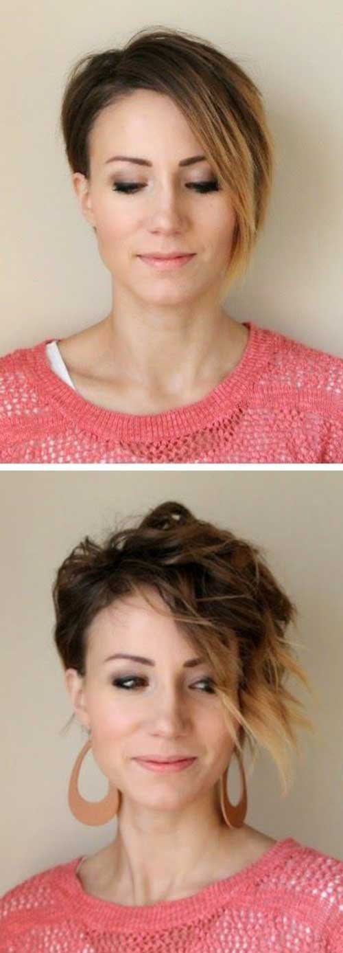 Ombre Long Pixie Haircuts