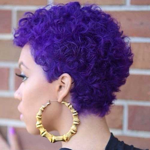 Purple Hair Curly Pixie Hairstyles
