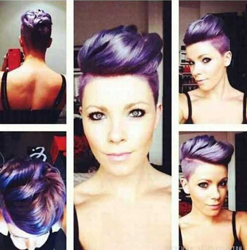Purple Hair Shaved Side Pixie Color