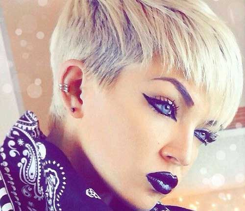 Razor Cut Blonde Pixie Haircut