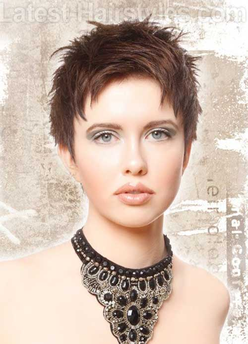 Razor Cut Pixie Dark Brown Colored Hair