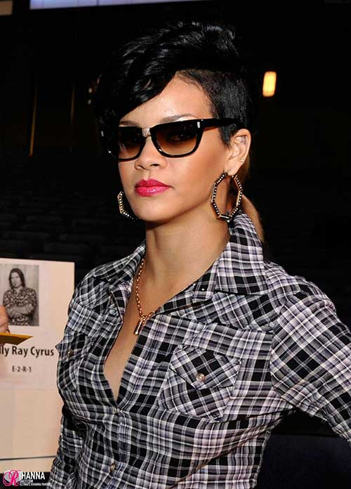 Rihanna Short Side Long Top Pixie Hairstyles