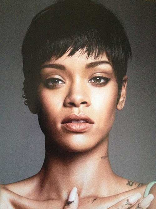 Rihanna Simple Pixie Cut Hairstyles