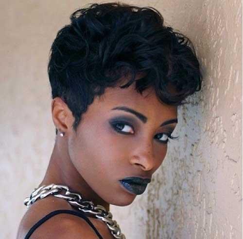 Short Black Haircuts Wavy Pixie 2015