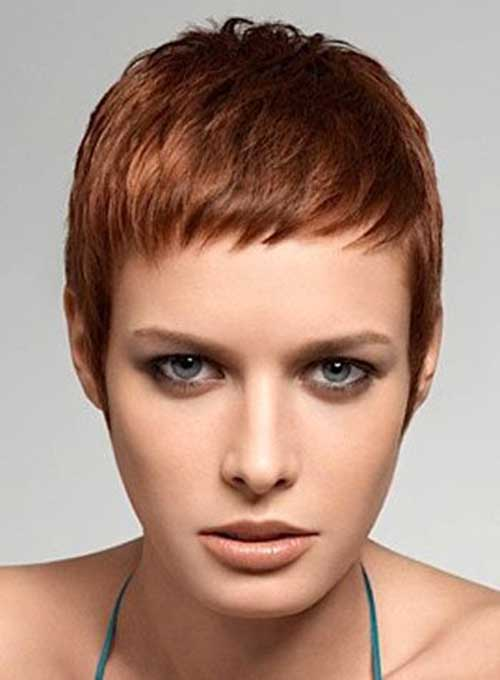 Super Short Red Brown Pixie Cut Styles