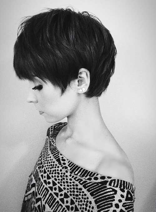 Thick Dark Hair Layered Pixie Cuts