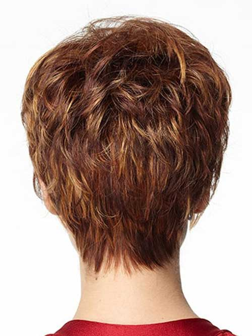 Thick Layered Pixie Hair Cut Back View