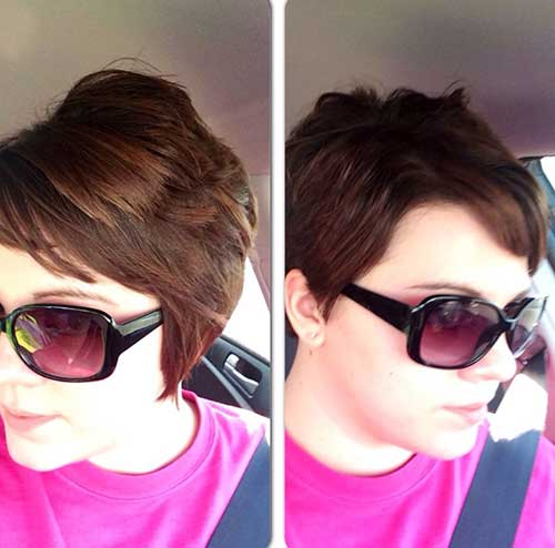 Trendy Brunette Pixie Haircut
