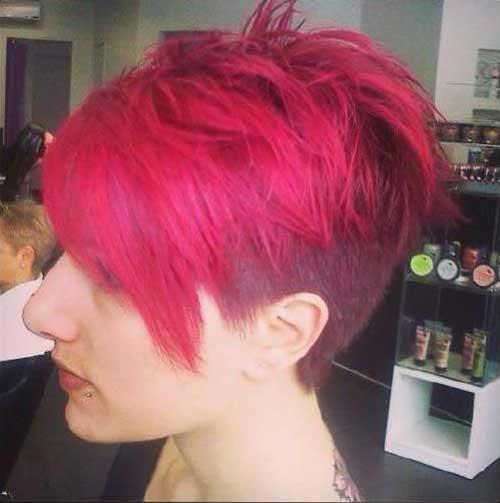 Undercut Pink Short Pixie Haircuts