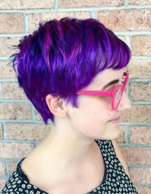 Pixie Cut Purple Hair